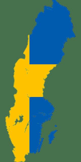 Illustrerad karta över Sverige färglagd som den svenska flaggan i blått och gult.