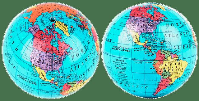 Jordglob med världens länder.